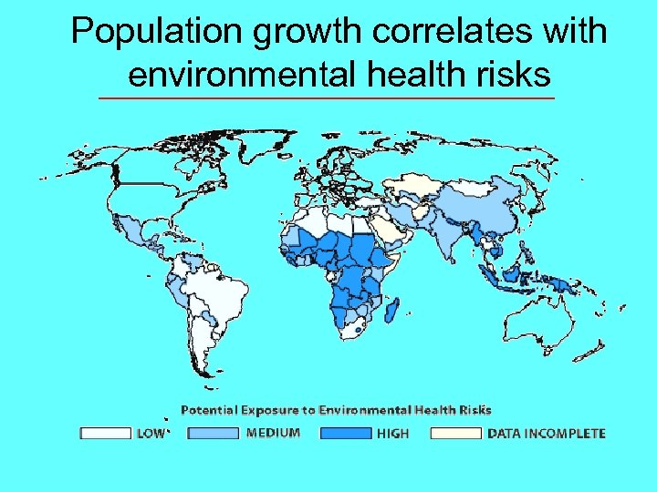 Population growth correlates with environmental health risks