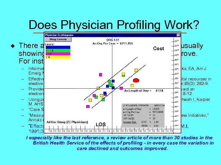 Does Physician Profiling Work? u There are many studies of the effects of profiling,