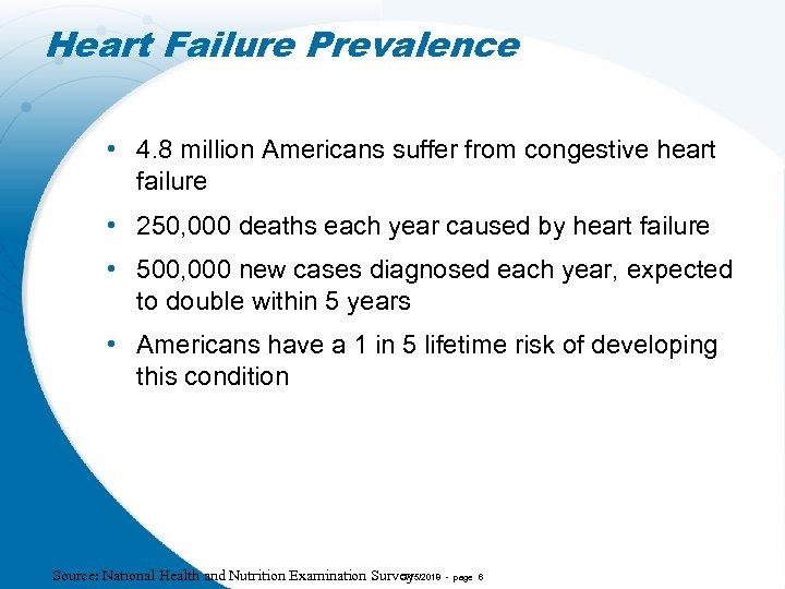 Heart Failure Prevalence • 4. 8 million Americans suffer from congestive heart failure •