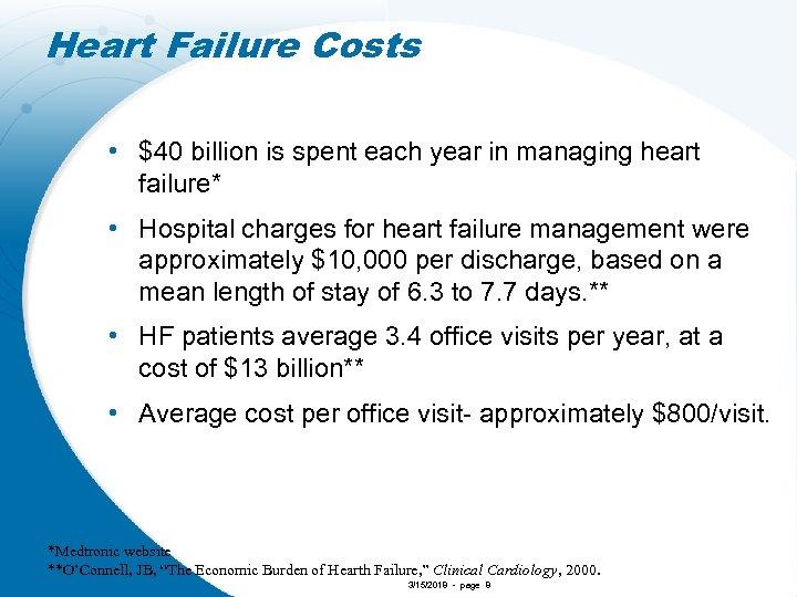 Heart Failure Costs • $40 billion is spent each year in managing heart failure*