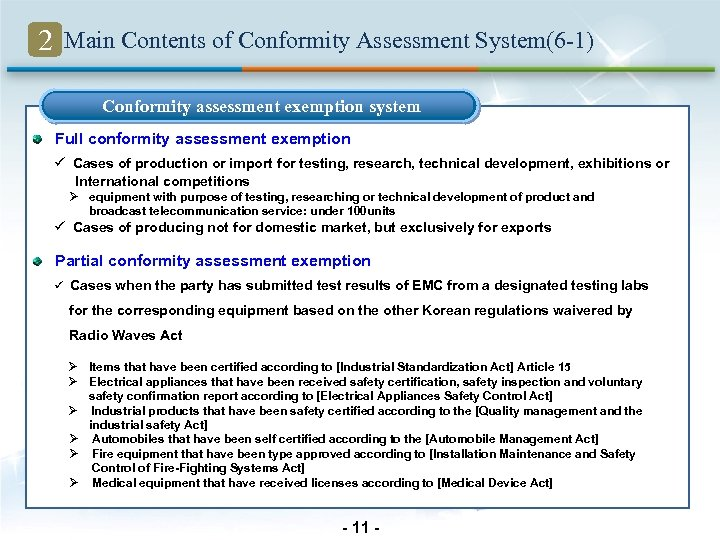 2 Main Contents of Conformity Assessment System(6 -1) Conformity assessment exemption system Full conformity