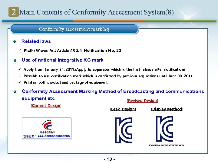 2 Main Contents of Conformity Assessment System(8) Conformity assessment marking Related laws ü Radio