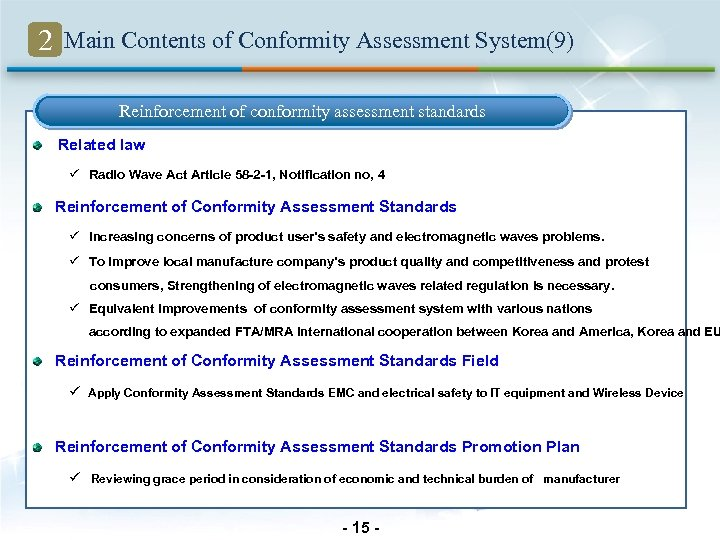 2 Main Contents of Conformity Assessment System(9) Reinforcement of conformity assessment standards Related law
