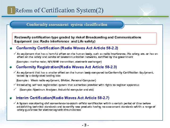1 Reform of Certification System(2) Conformity assessment system classification Reclassify certification type graded by