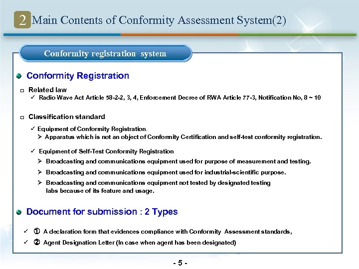 2 Main Contents of Conformity Assessment System(2) Conformity registration system Conformity Registration □ Related
