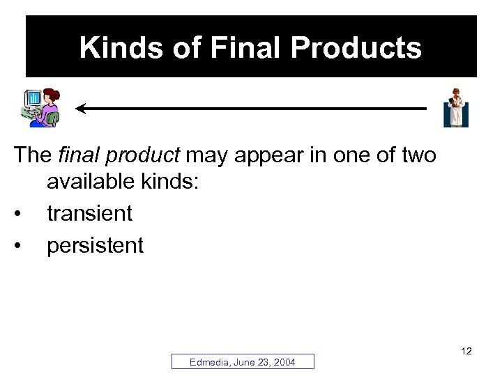 Kinds of Final Products The final product may appear in one of two available