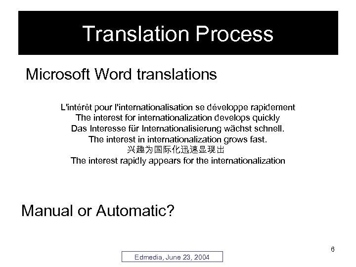 Translation Process Microsoft Word translations L'intérêt pour l'internationalisation se développe rapidement The interest for