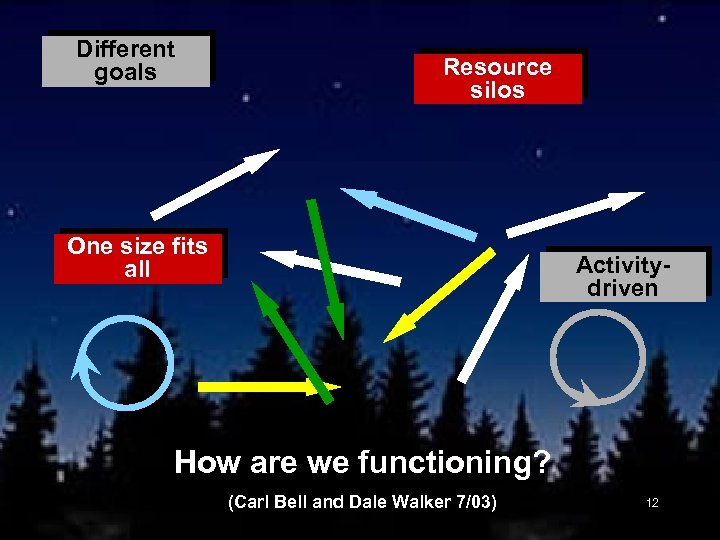 Different goals Resource silos One size fits all Activitydriven How are we functioning? (Carl
