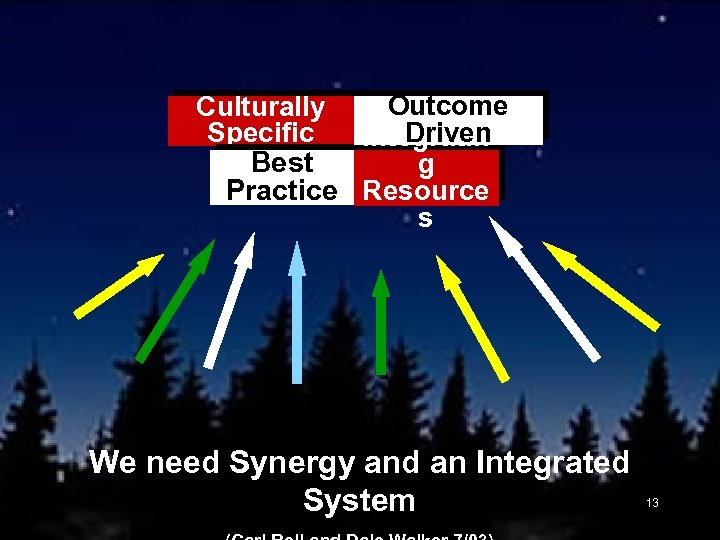 Outcome Culturally Driven Specific Integratin Best g Practice Resource s We need Synergy and