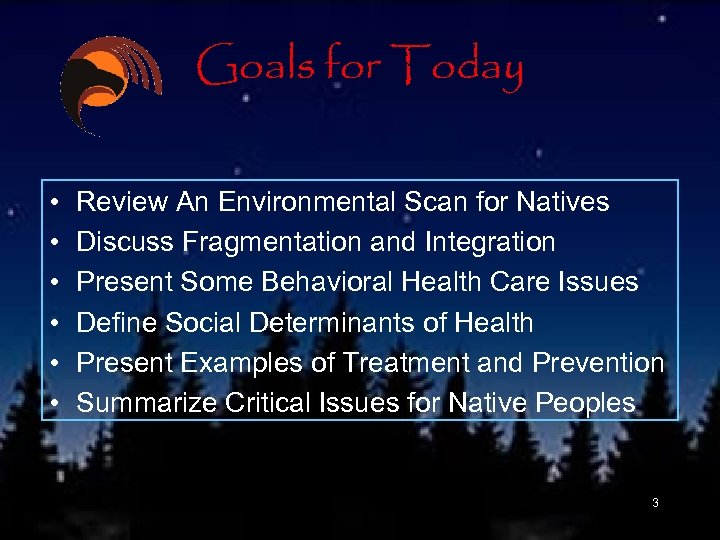Goals for Today • • • Review An Environmental Scan for Natives Discuss Fragmentation