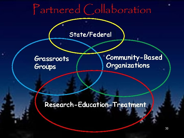 Partnered Collaboration State/Federal Grassroots Groups Community-Based Organizations Research-Education-Treatment 39