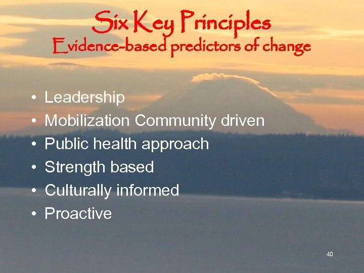 Six Key Principles Evidence-based predictors of change • • • Leadership Mobilization Community driven