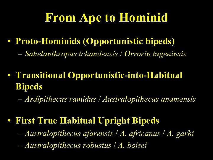 From Ape to Hominid • Proto-Hominids (Opportunistic bipeds) – Sahelanthropus tchandensis / Orrorin tugeninsis