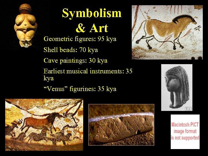 Symbolism & Art Geometric figures: 95 kya Shell beads: 70 kya Cave paintings: 30