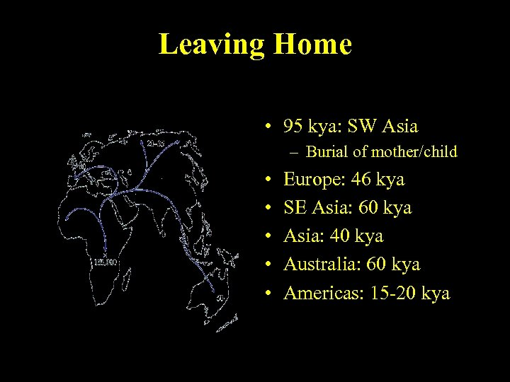 Leaving Home • 95 kya: SW Asia – Burial of mother/child • • •