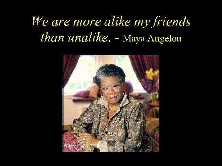 We are more alike my friends than unalike. - Maya Angelou