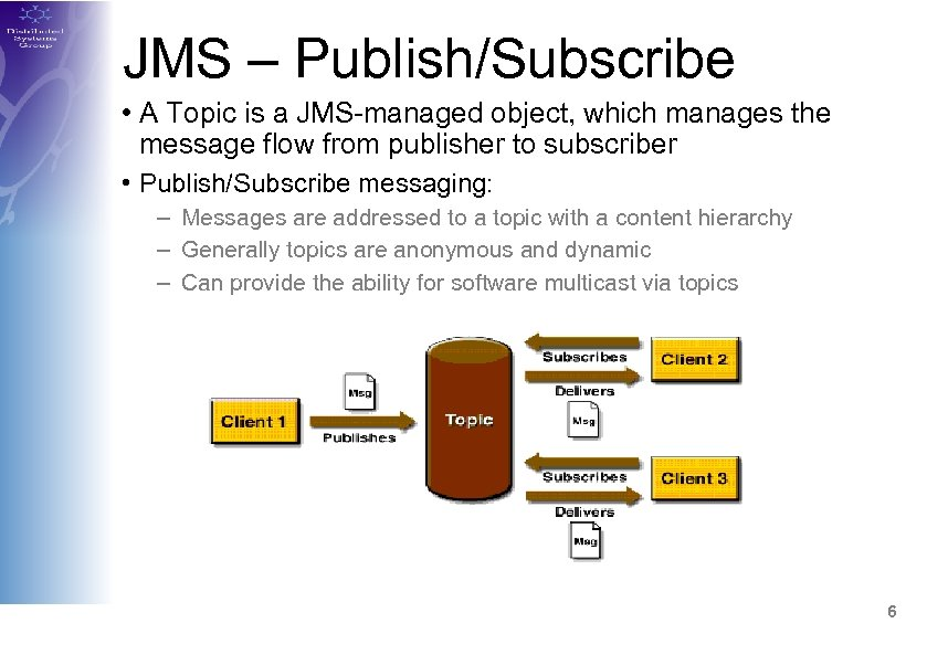 JMS – Publish/Subscribe • A Topic is a JMS-managed object, which manages the message