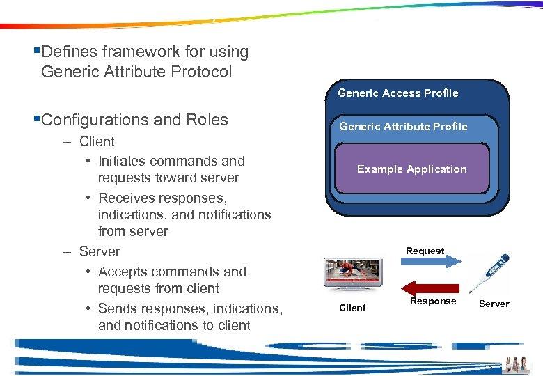 Generic Attribute Profile (GATT) §Defines framework for using Generic Attribute Protocol Generic Access Profile