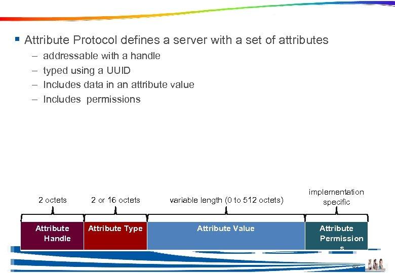 GATT uses Attribute Protocol § Attribute Protocol defines a server with a set of