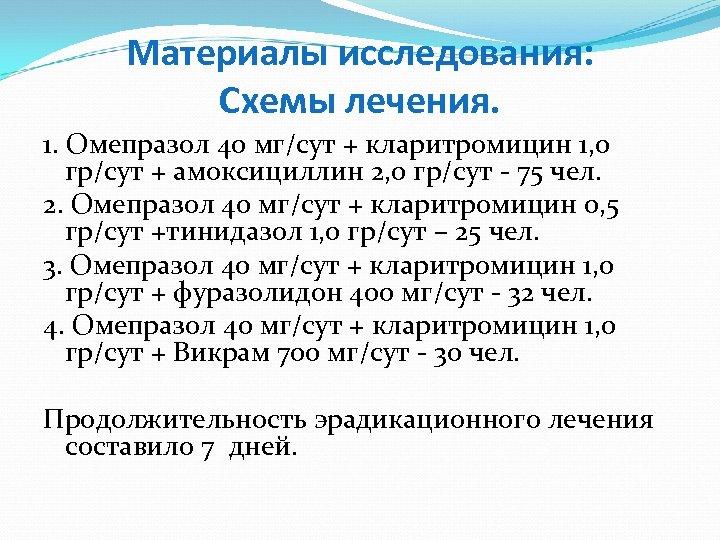 Материалы исследования: Схемы лечения. 1. Омепразол 40 мг/сут + кларитромицин 1, 0 гр/сут +