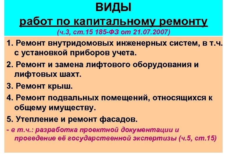 ВИДЫ работ по капитальному ремонту (ч. 3, ст. 15 185 -ФЗ от 21. 07.