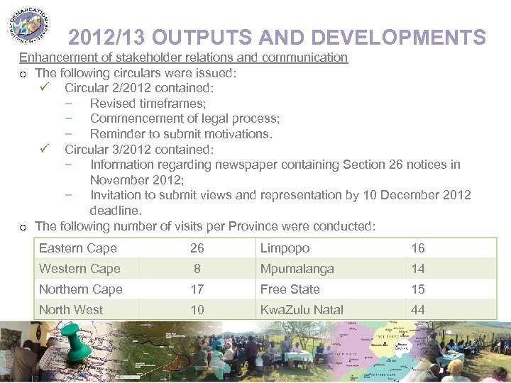 2012/13 OUTPUTS AND DEVELOPMENTS Enhancement of stakeholder relations and communication o The following circulars