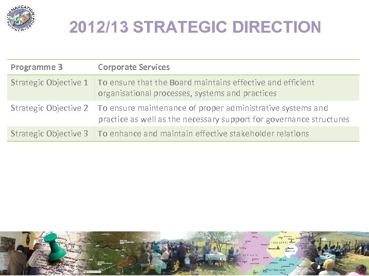 2012/13 STRATEGIC DIRECTION Programme 3 Corporate Services Strategic Objective 1 To ensure that the