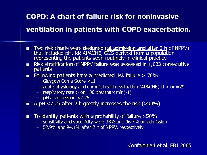 COPD: A chart of failure risk for noninvasive ventilation in patients with COPD exacerbation.