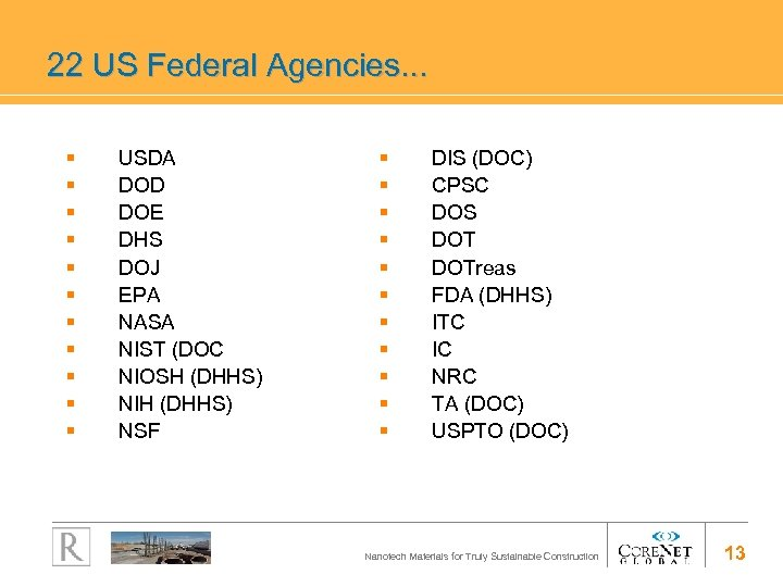 22 US Federal Agencies. . . § § § USDA DOD DOE DHS DOJ