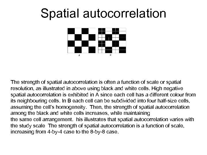 Spatial autocorrelation Negative Dispersed Spatial The grids A and B represent two different spatial