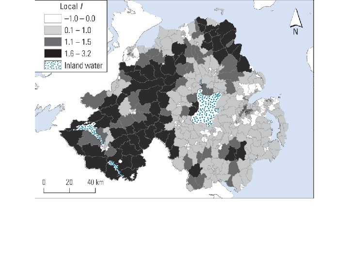 Global Moran's I = 0. 665 Local I, large positive values in rural areas,
