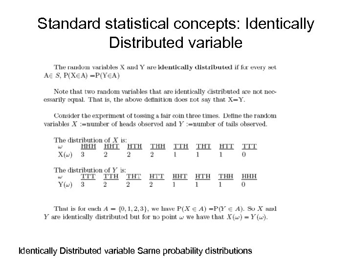 Standard statistical concepts: Identically Distributed variable Same probability distributions