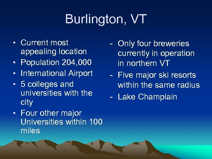 Burlington, VT • Current most - Only four breweries appealing location currently in operation