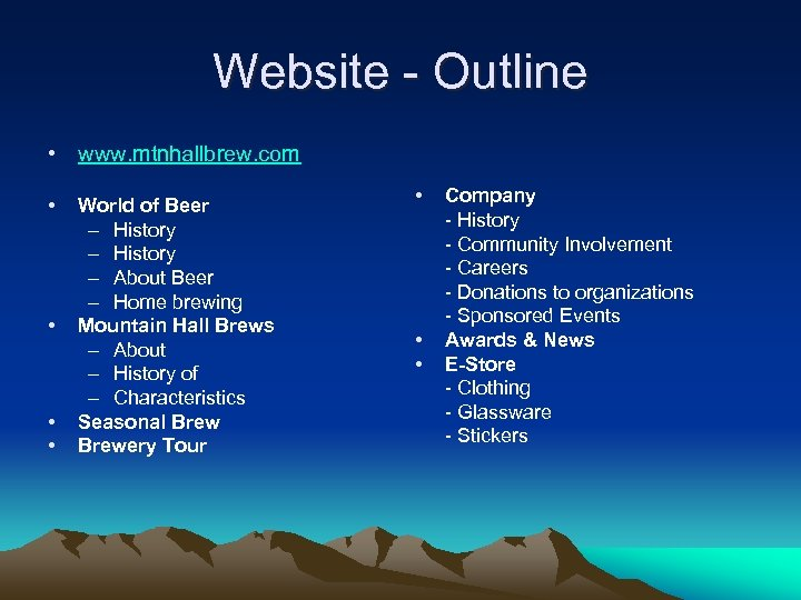 Website - Outline • www. mtnhallbrew. com • • World of Beer – History