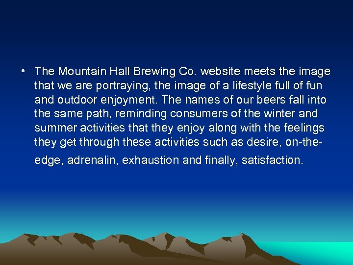 • The Mountain Hall Brewing Co. website meets the image that we are