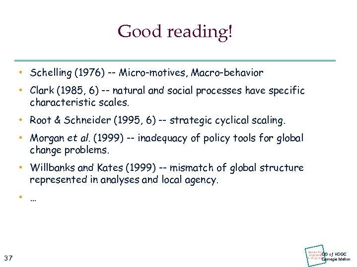 Good reading! • Schelling (1976) -- Micro-motives, Macro-behavior • Clark (1985, 6) -- natural