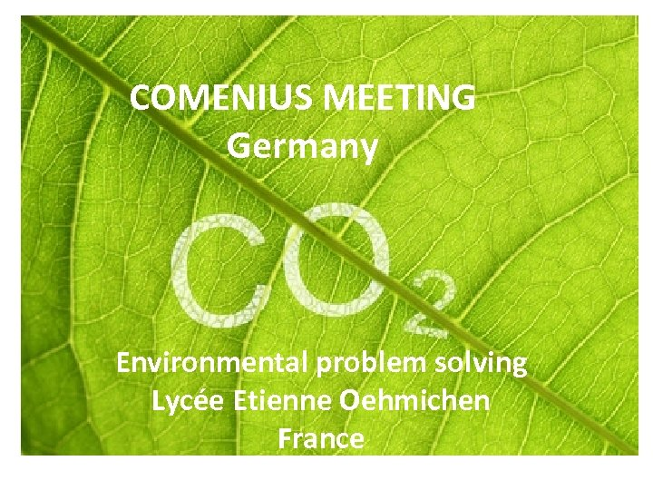 COMENIUS MEETING Germany Environmental problem solving Lycée Etienne Oehmichen France