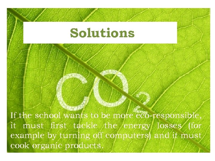 Solutions If the school wants to be more eco-responsible, it must first tackle the