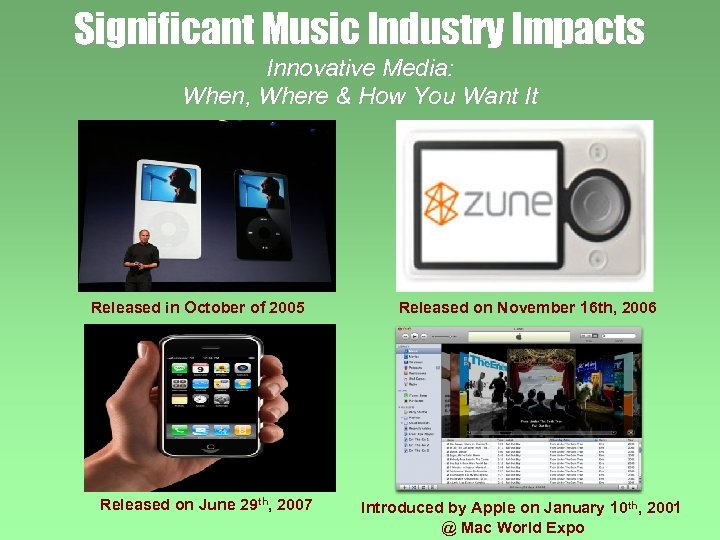 Significant Music Industry Impacts Innovative Media: When, Where & How You Want It Released