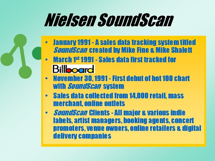 Nielsen Sound. Scan • January 1991 - A sales data tracking system titled Sound.