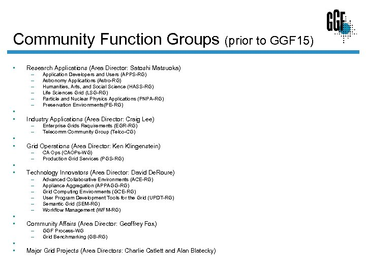 Community Function Groups (prior to GGF 15) • Research Applications (Area Director: Satoshi Matsuoka)
