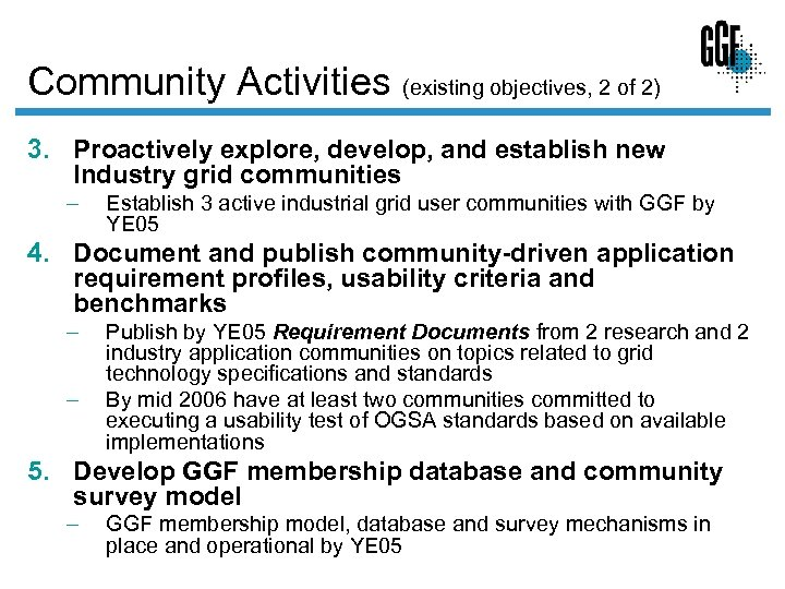 Community Activities (existing objectives, 2 of 2) 3. Proactively explore, develop, and establish new