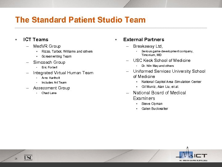 The Standard Patient Studio Team § ICT Teams – Med. VR Group § §