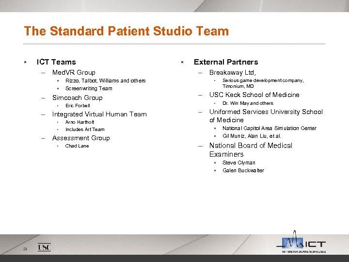 The Standard Patient Studio Team § ICT Teams – Med. VR Group § §