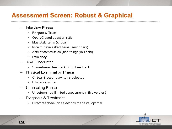 Assessment Screen: Robust & Graphical – Interview Phase § § § – Rapport &