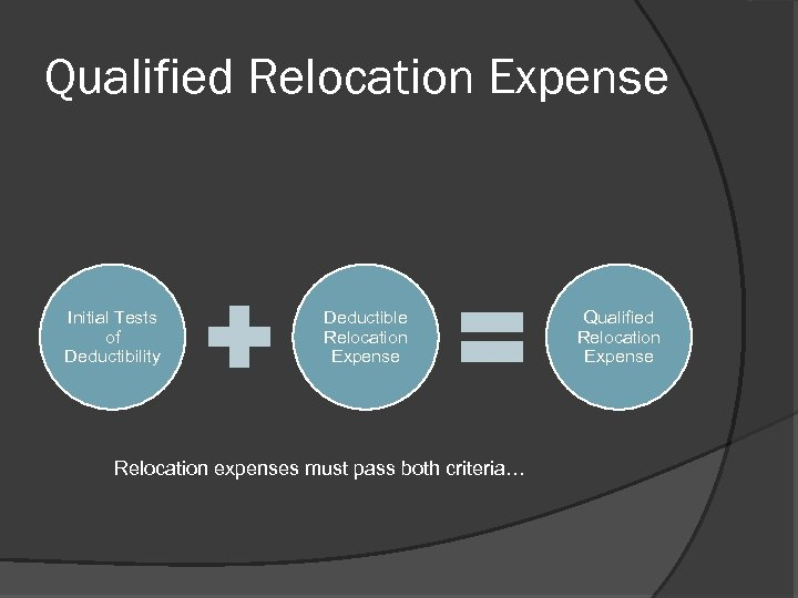 Qualified Relocation Expense Initial Tests of Deductibility Deductible Relocation Expense Relocation expenses must pass