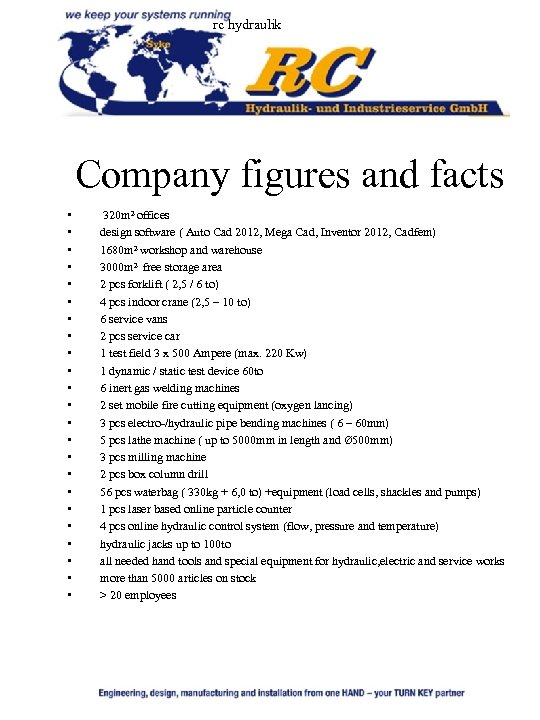 rc hydraulik Company figures and facts • • • • • • 320 m²