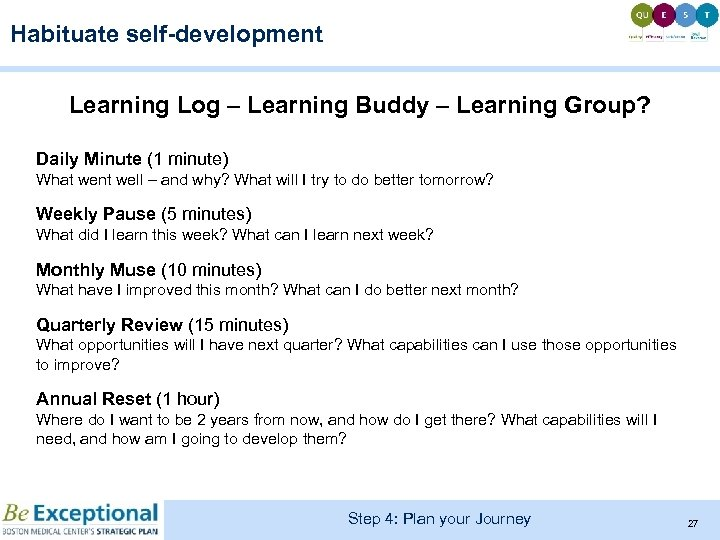 Habituate self-development Learning Log – Learning Buddy – Learning Group? Daily Minute (1 minute)
