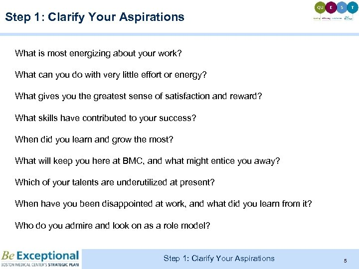 Step 1: Clarify Your Aspirations What is most energizing about your work? What can