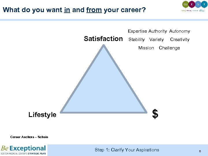 What do you want in and from your career? Expertise Authority Autonomy Satisfaction Stability